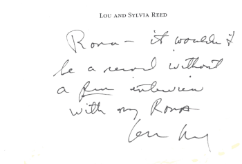 Rona Elliot Note from Lou Reed