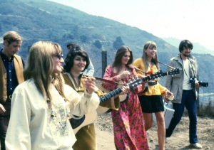 My photo from Big Sur Folk Festival at Esalen walking to the stage - Joni with Judy Collins,  Jac Holzman and others  1968